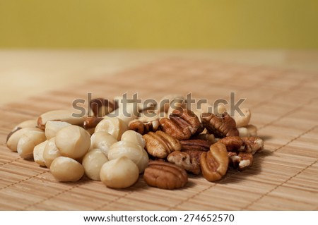 mix of nuts, para cashew brazil macadamian pecan - stock photo