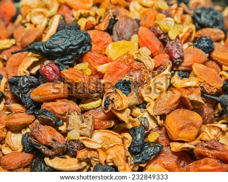 Mix of of different fruits and dried fruits