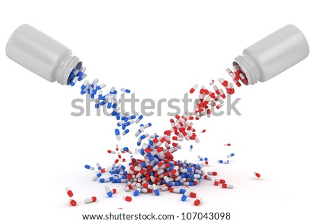 Mix of red and blue pills from two different bottles - stock photo