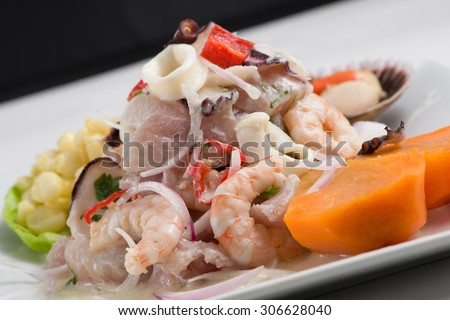 Mix of Sea food and fish peruvian ceviche. - stock photo