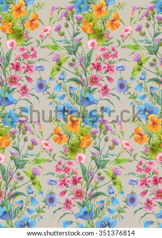 Mix of summer flowers. Seamless background pattern version 5 - stock photo