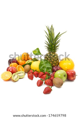 MIX OF TROPICAL FRUIT ON WHITE BACKGROUND, VERTICAL