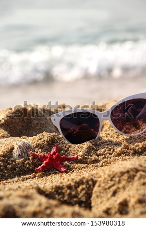 Mix of vivid starfishes on the empty beach and female sunglasses