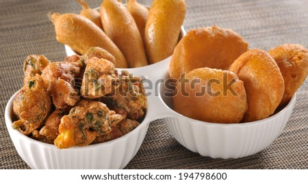 Mix Pakoras, An extremely delicious and mouth watering snack of Pakistani & Indian Peoples - stock photo