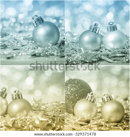 Mix photo of christmas decoration with bauble ball abstract background, selective focus