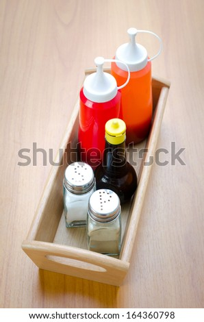 MIx Sauce in wood basket .