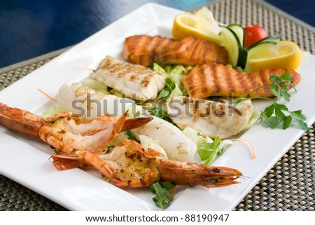 mix seafood grill - stock photo