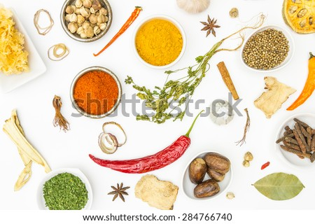 Mix spices on white background for decorate project. - stock photo