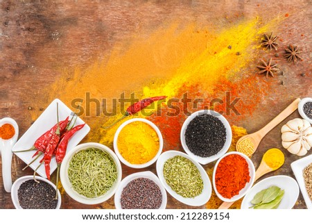 Mix spices on wood texture background,indian spices in terracotta pots, group of indian spices, group of spices, india and spices arranged in different size terracotta,spices herbs,spices medical - stock photo