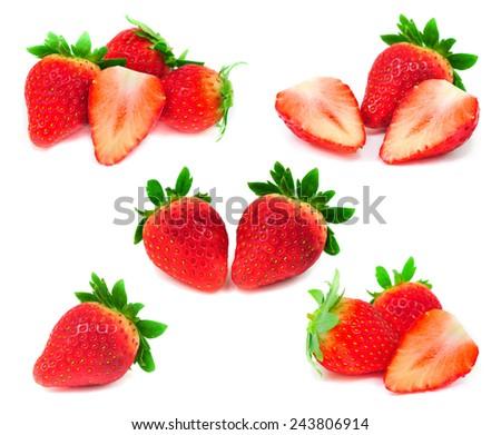Mix Strawberry isolated on white  - stock photo