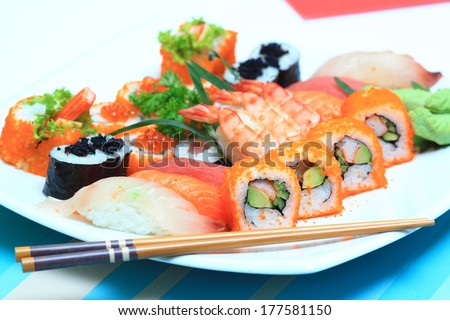 Mix Sushi platter - stock photo