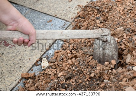 Mix the soil for planting with a hoe