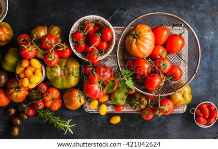 Mix tomatoes in summer day. Composition of variety fresh tomatoes. Rustic dark styling. Top view. - stock photo