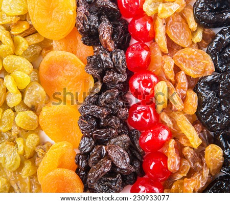 Mix variety of dried fruit close up view