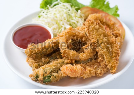 mix Vegetable fritters with a dipping sauce. - stock photo