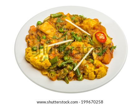 Mix vegetable masala - Indian traditional food - stock photo