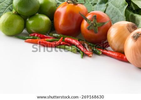 mix vegetable on white background - stock photo