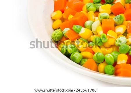 Mix vegetables in a bowl on white background - stock photo