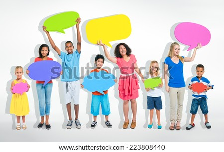 Mixed age people sharing ideas about social media. - stock photo