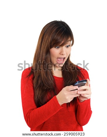 Mixed Asian girl surprised with mobile phone on white background