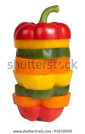 Mixed bell pepper, isolated on white background
