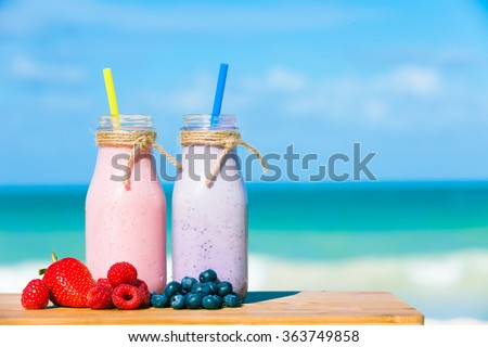 Mixed berry smoothies.  - stock photo