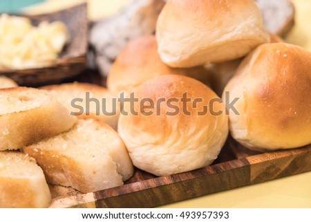 mixed bread on dinning table