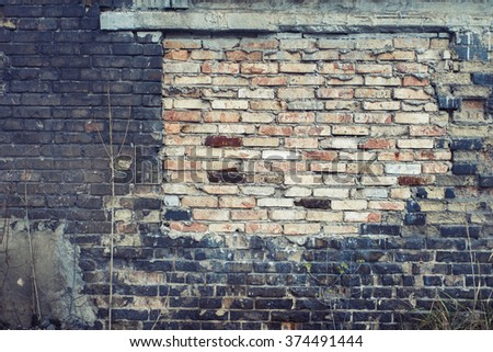 Mixed brick wall texture background. Vintage effect.  - stock photo