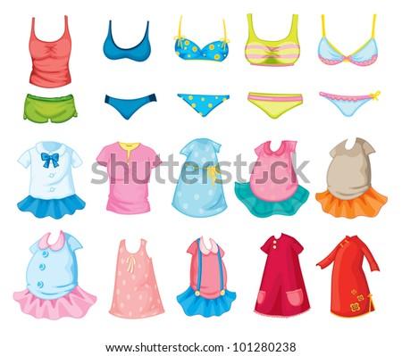 Mixed children's clothes on white - stock photo