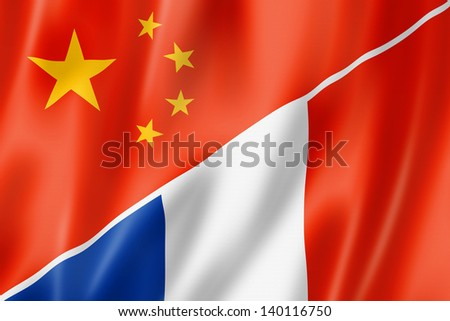 Mixed China and France flag, three dimensional render, illustration - stock photo