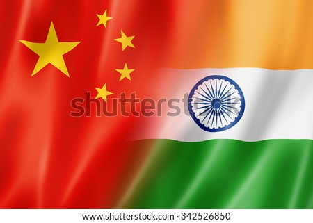 Mixed China and India flag, three dimensional render, illustration - stock photo