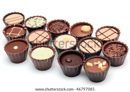 Mixed Chocolates against a white background ( candy basket )