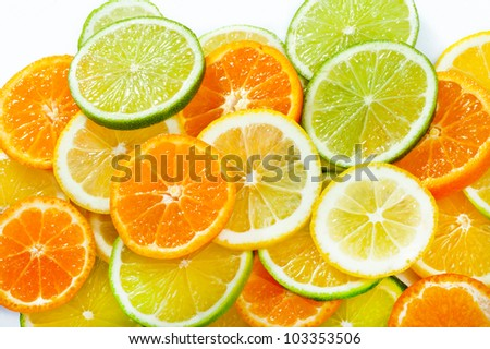 Mixed citrus fruit. Lemon, Lime, Orange