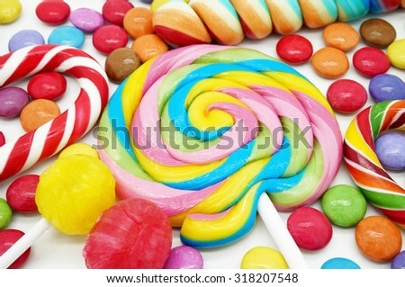 Mixed Colorful Candies Close Up