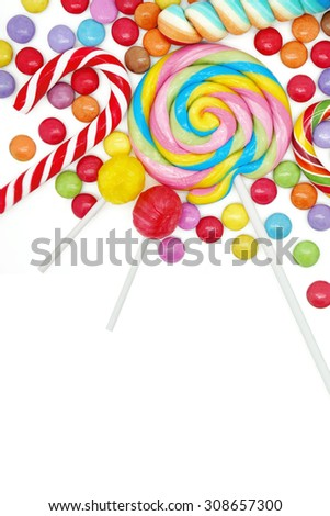 Mixed Colorful Candies on White Background