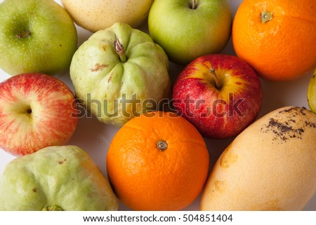 Mixed colorful  fruits  on white background