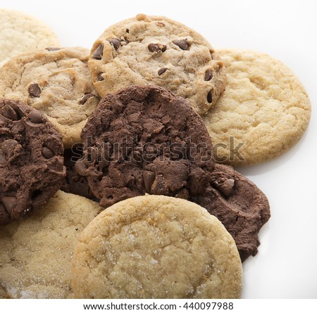Mixed Cookies on a white background - stock photo