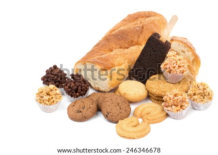 Mixed cookies with space for add your text isolate on white background - stock photo