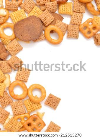 mixed crackers on white background  - stock photo