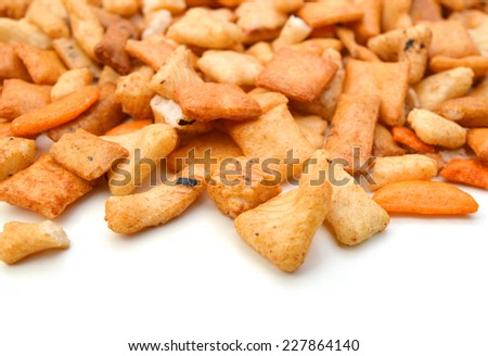 mixed crackers on white background
