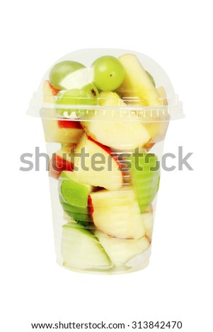 Mixed Cut Fruits in Plastic Cup on White Background - stock photo