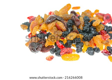 mixed dried fruits on white  - stock photo
