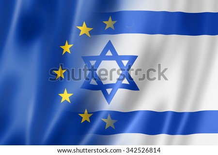 Mixed Europe and Israel flag, three dimensional render, illustration - stock photo