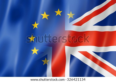 Mixed Europe and UK flag, three dimensional render, illustration - stock photo
