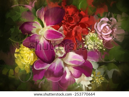 mixed flower bouquet.digital painting - stock photo