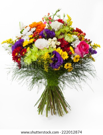 Mixed flowers colorful bunch. - stock photo