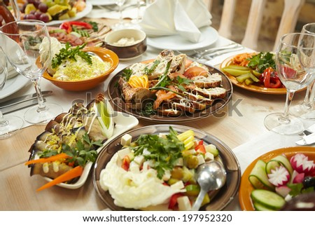 mixed food  - stock photo