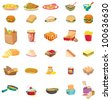 mixed food illustration on white - EPS VECTOR format also available in my portfolio. - stock photo