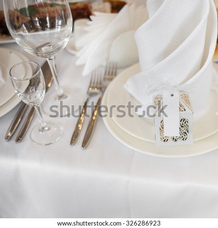 Mixed food on banquet wedding table.