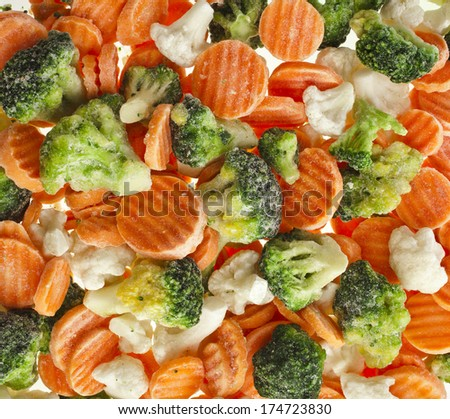 Mixed  freeze various vegetables surface top view background